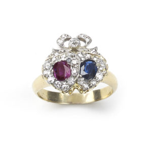 Victorian Sapphire Ruby Diamond Double Heart Ring
