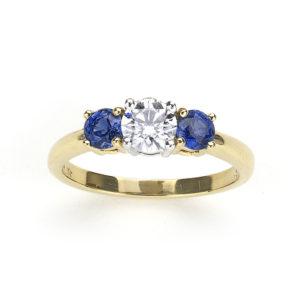Tiffany & Co. Sapphire Diamond Yellow Gold Platinum Ring
