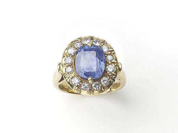 Retro Ceylon Sapphire and Diamond Cluster Ring