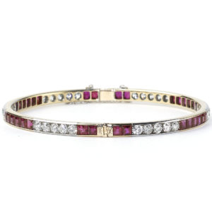 Antique Art Deco Burma Ruby & Diamond Bangle