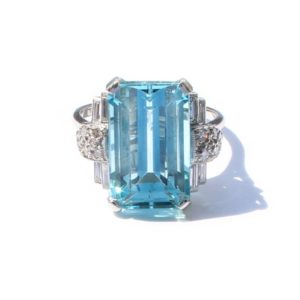 Antique Art Deco Platinum, Aquamarine & Diamond Ring