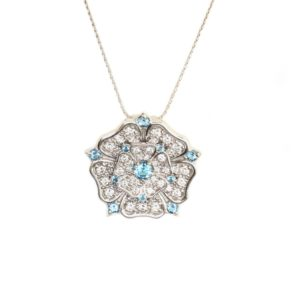 18ct White Gold Aquamarine & Diamond Yorkshire Rose Pendant