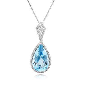 18ct White Gold Pear Cut Aquamarine & Diamond Cluster Pendant