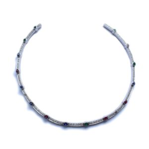 18ct White Gold Diamond, Ruby, Sapphire & Emerald Collar Necklace