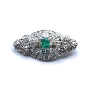 Antique Art Deco Garrard & Co. Ltd Platinum, Emerald & Diamond Brooch