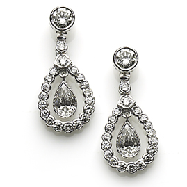 Diamond drop pear shape teardrop earrings