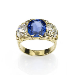 Victorian Style Sapphire & Diamond Three Stone Ring