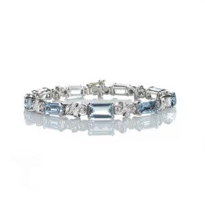 Vintage Aquamarine & Diamond Link Bracelet