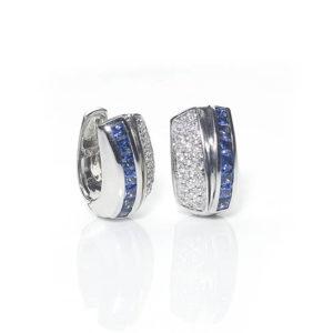 Vintage Sabbadini Sapphire & Diamond Earring