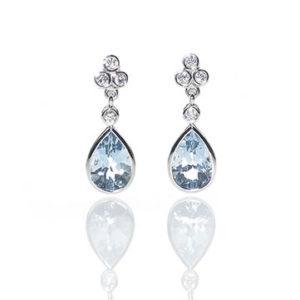 Diamond Topped Aquamarine Drop Earrings
