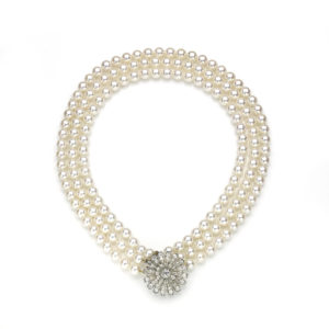 Pearl Necklace With Victorian Diamond Set Clasp