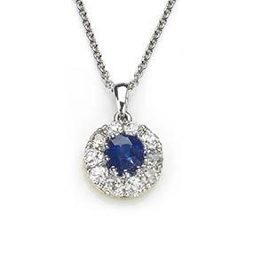 Sapphire & Diamond Cluster Pendant