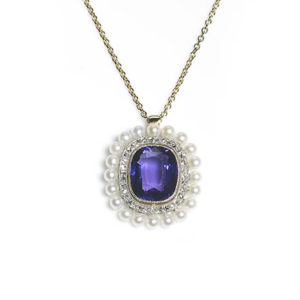 Antique Edwardian Amethyst Pearl & Diamond Pendant