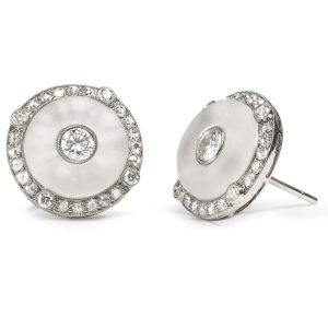 Art Deco Style Rock Crystal & Diamond Earrings