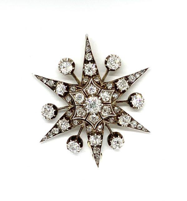 Diamond star brooch