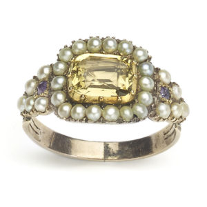 Antique Georgian Citrine and Pearl Mourning Ring