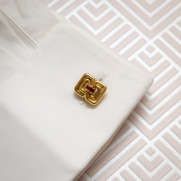 Vintage Tiffany co Cufflinks Gold ruby