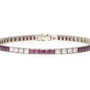 Ruby and Diamond Line Bracelet
