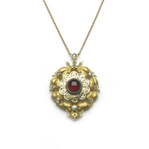 Antique Victorian Garnet & Diamond Pendant