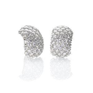 Vintage Bombé Style Diamond Ear Clips