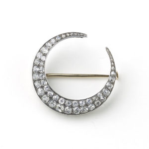 Antique Victorian Diamond Crescent Brooch