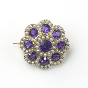 Antique Victorian Amethyst & Pearl Cluster Brooch