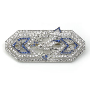 Antique Art Deco Marcus & Co. Sapphire & Diamond Bird Brooch