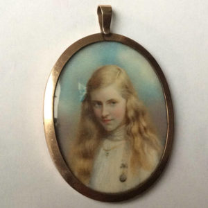 Antique Edwardian Miniature Portrait Pendant
