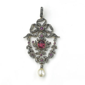 Antique Red Spinel Diamond and Ruby Pendant