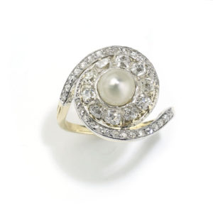 Antique Edwardian Pearl & Diamond Ring