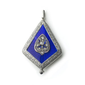 Antique Art Deco Platinum, Diamond & Enamel Watch Pendant