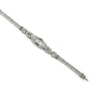 Art Deco Platinum Diamond Emerald Manual Cocktail Wristwatch