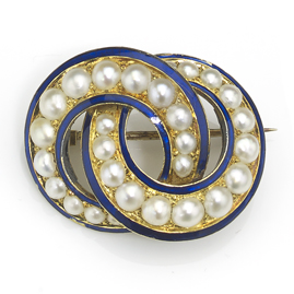 Antique Victorian Pearl & Blue Enamel Brooch