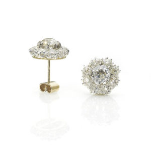 Diamond stud earrings old cut diamond cushion cut round gold