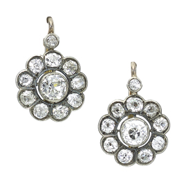 Antique Victorian Diamond Cluster Earrings