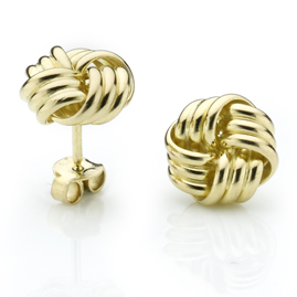 Three Strand Gold Knot Earrings