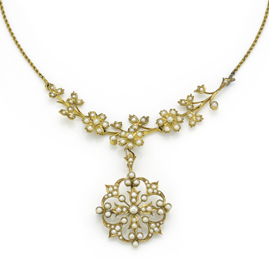 Antique Edwardian Seed Pearl Gold Necklace