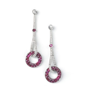 Ruby diamond long drop earrings platinum open circle calibre cut