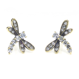 Diamond Set Dragonfly Earrings