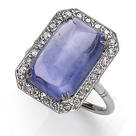 Art Deco sapphire diamond cluster ring platinum antique fine jewellery