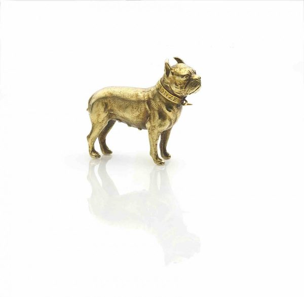 Antique Edwardian French Bulldog Gold Brooch
