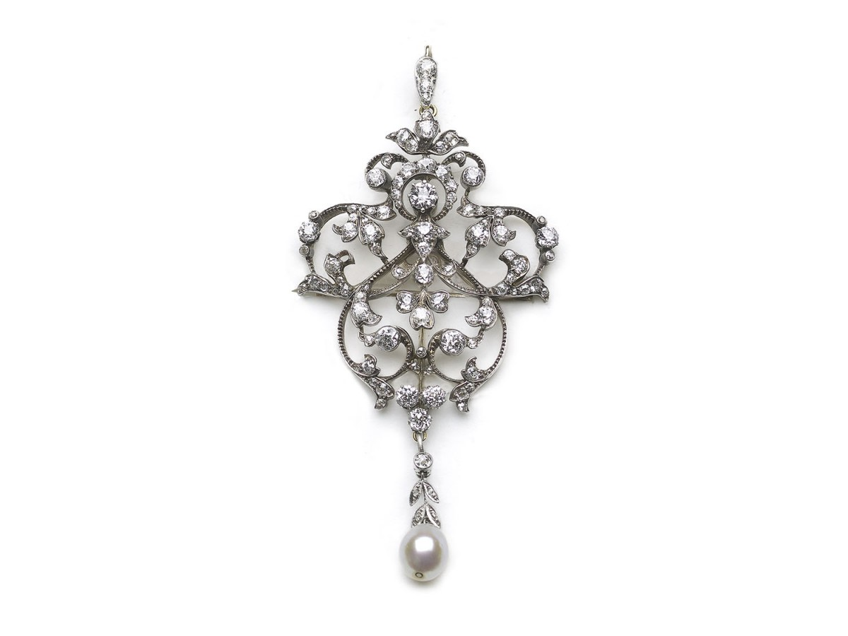 Antique Edwardian Diamond & Pearl Brooch Pendant With Hair Comb
