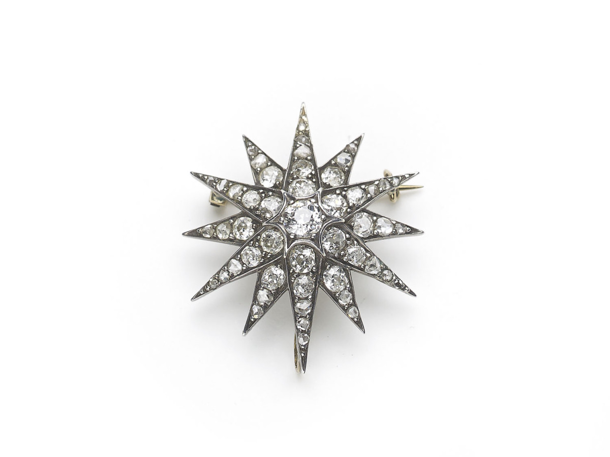 Antique Victorian Diamond Star Brooch Pendant