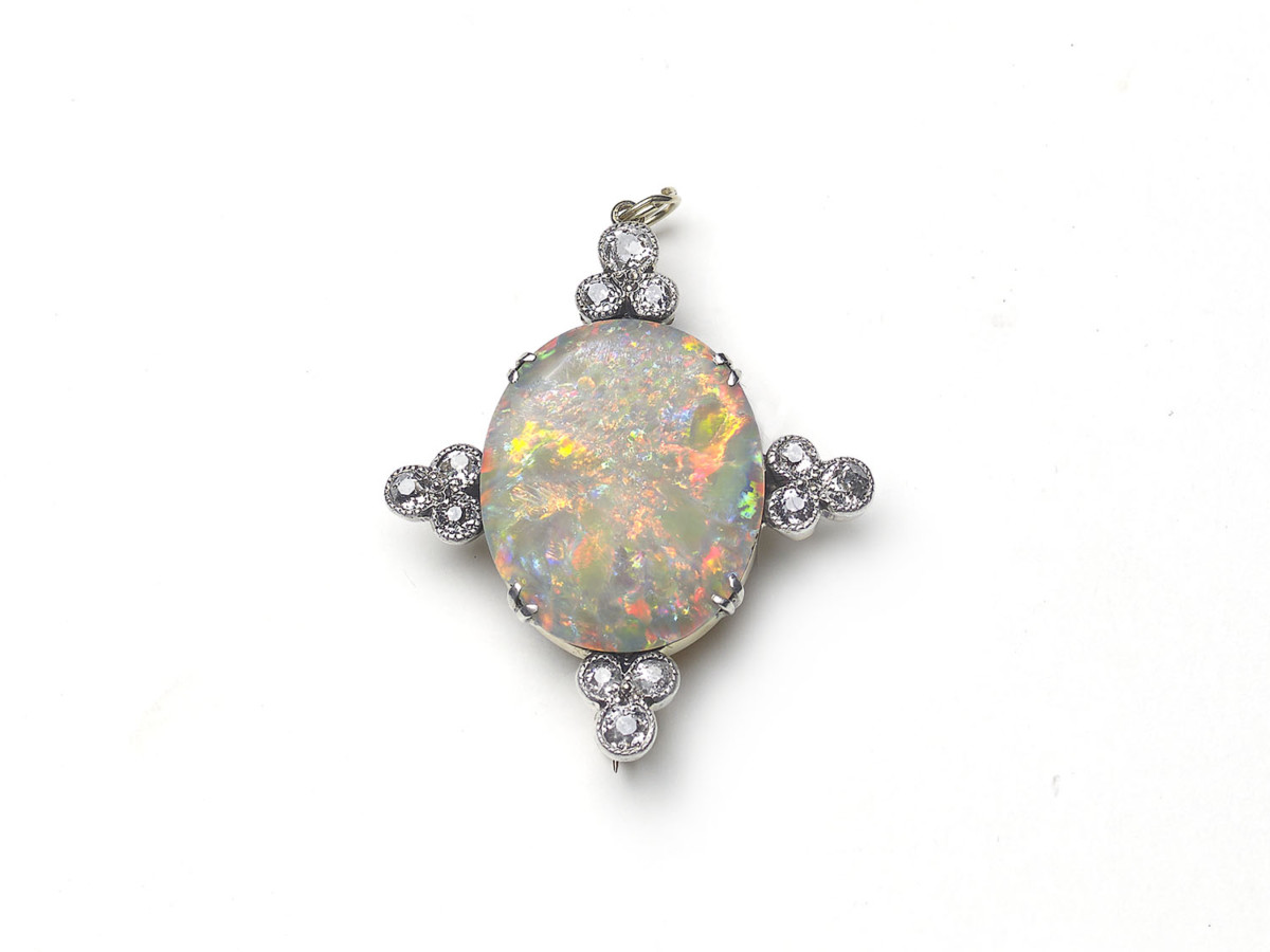 Antique Victorian Opal and Diamond Brooch
