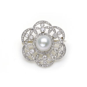 Antique Edwardian Pearl & Diamond Brooch