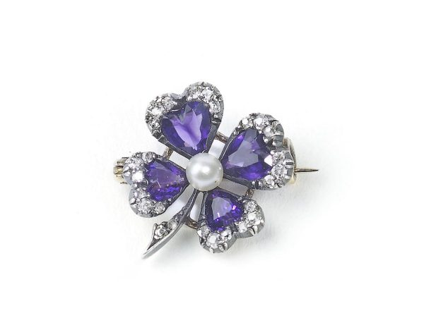 Antique Victorian Amethyst & Diamond Four-Leaf Clover Brooch