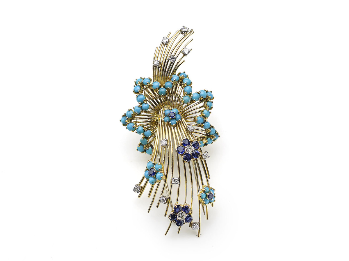 Vintage Sapphire Diamond & Turquoise Shooting Star Brooch