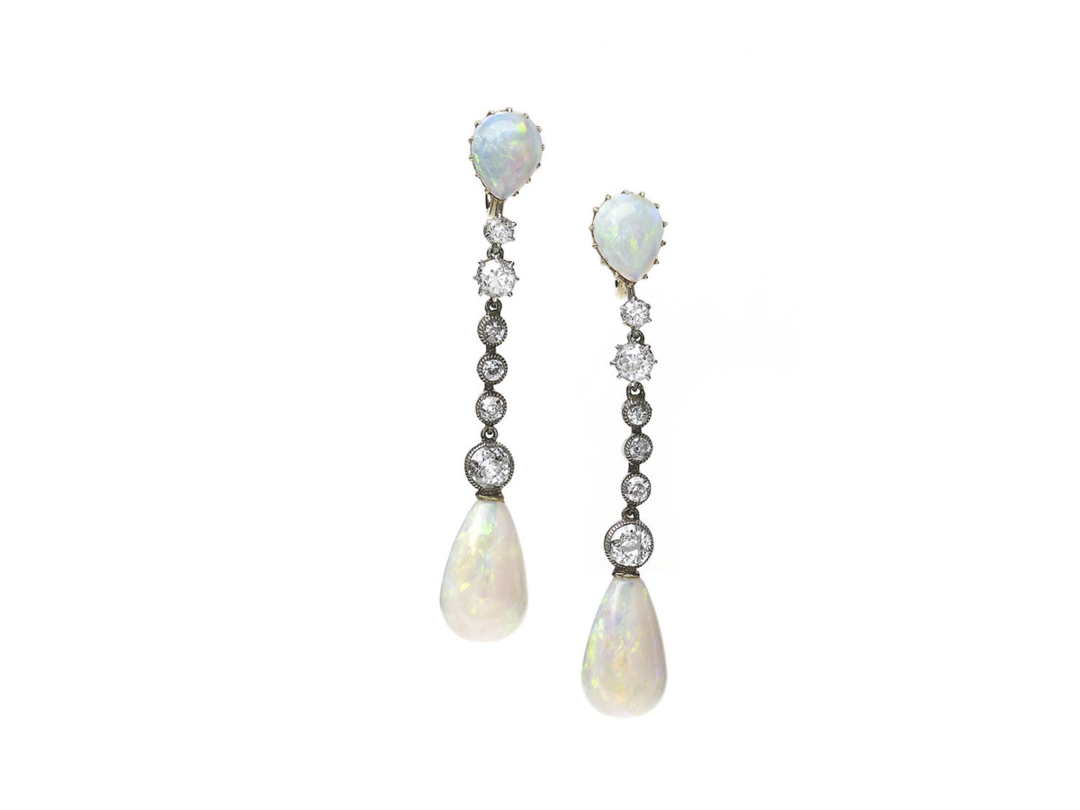 Antique Art Deco Opal Drop Earrings
