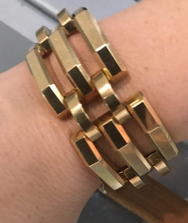 gold wide bracelet vintage