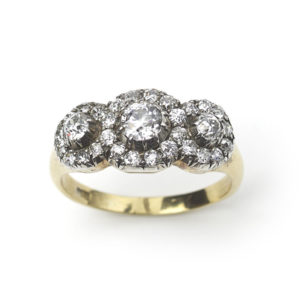 Antique Victorian Triple Cluster Diamond Ring